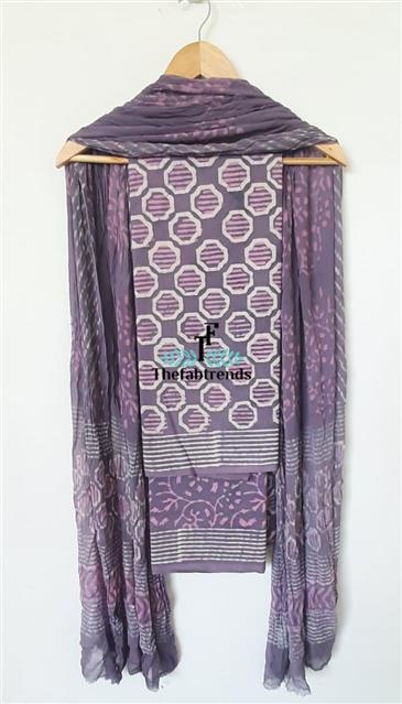 suits blockprint chiffon dupatta(PH) - The FabTrends