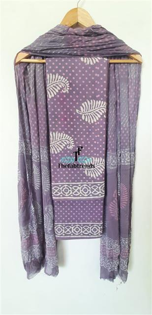 suits blockprint chiffondupatta(PH) - The FabTrends