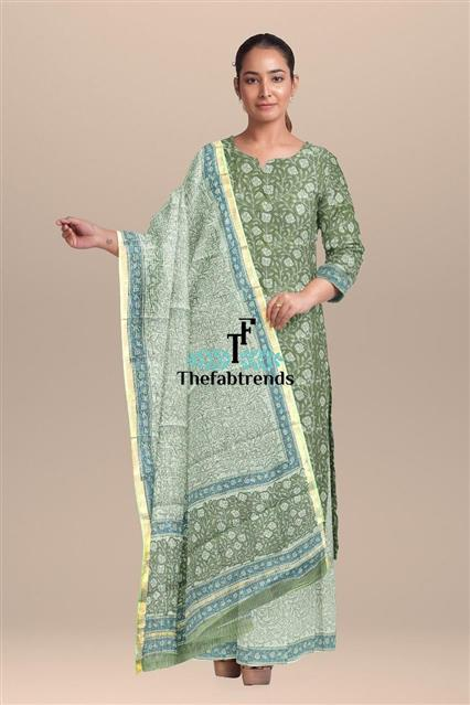 suits blockprint kota dupatta((AT) - The FabTrends