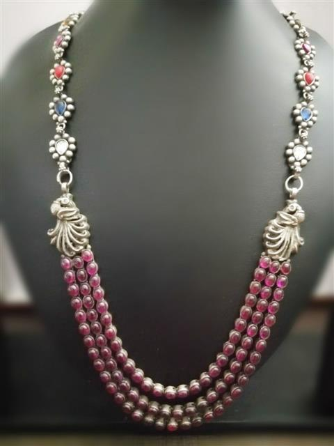 Three Layer Pink Navratan Necklace - Missori