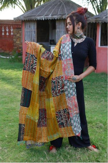 Multi-colour Kantha Stitch Silk Dupatta - Missori