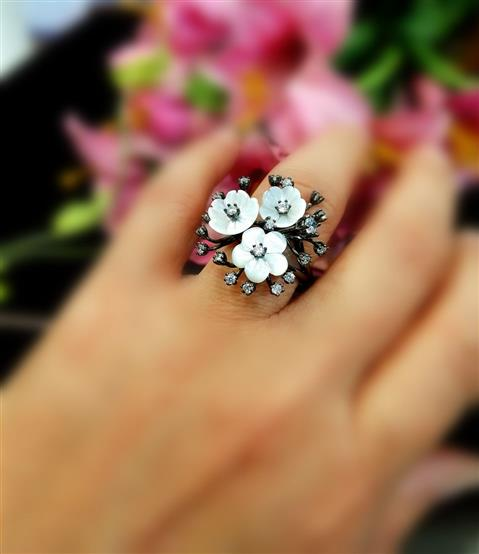 Mother Of Pearl Silver Ring - Missori