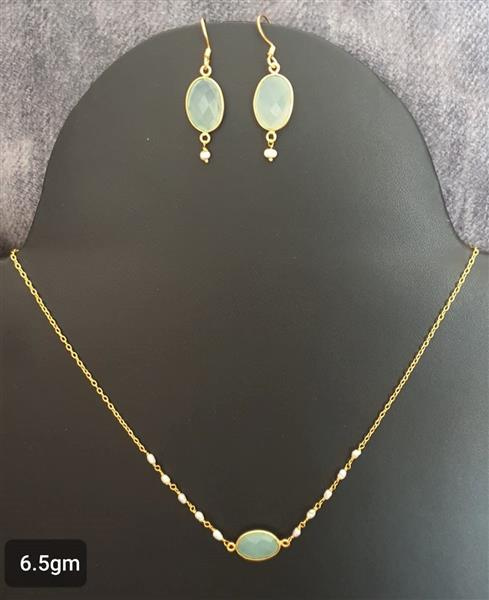 Green Chalcedony Gold Plated Necklace Set - Missori