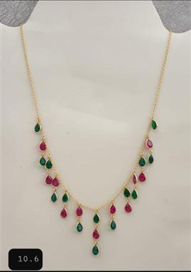 Pink Green Gold Plated Necklace - Missori