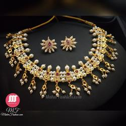 19 Peti Chinchpeti Haar in 3 Strings Pearl Square Shape Design - Maher Fashion(Fashiontrends)