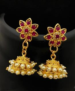 Pearl Star Design Jhumka _Online _MaherFashion_Mumbai - Maher Fashion(Fashiontrends)