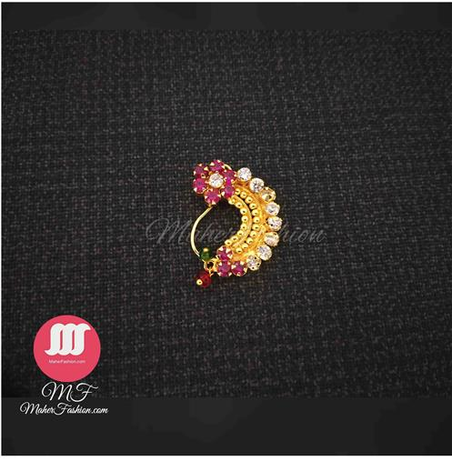 Diamond Pearl  Design Gold Nath _Online _Maherfashion_Mumbai - Maher Fashion(Fashiontrends)
