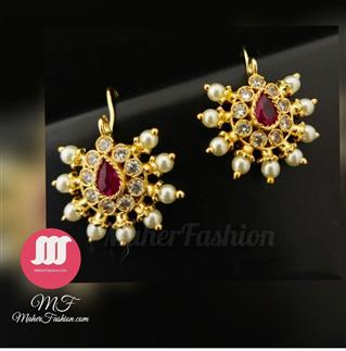 Attractive pink and white stones studded bugadi. With pearl droplet _Online _MaherFashion_Mumbai - Maher Fashion(Fashiontrends)