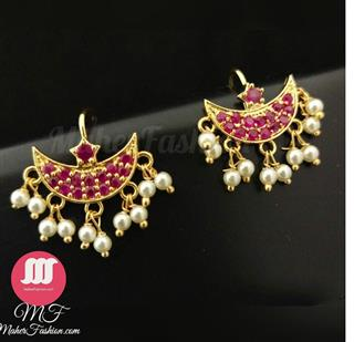 Attractive Red Stones Studded Bugadi. With Pearl Droplet _Online _MaherFashion_Mumbai - Maher Fashion(Fashiontrends)