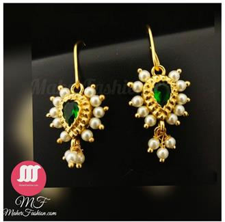Attractive green stones studded bugadi. With pearl droplet _Online _MaherFashion_Mumbai - Maher Fashion(Fashiontrends)