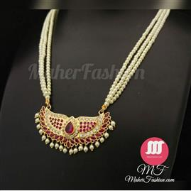 Red And White Stone Traditional Tanmani Design Online Maherfashion_Mumbai - Maher Fashion(Fashiontrends)