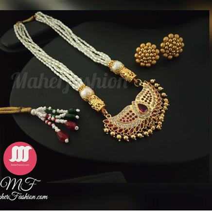 Red And White Stone Gold Plated Pearl Tanmani Designs MaherFashion_Mumbai - Maher Fashion(Fashiontrends)