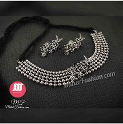 Oxidiset necklace Silver Necklace For Girls And Women - Maher Fashion(Fashiontrends)