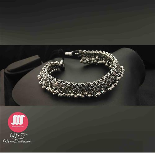 Oxidized German Silver Ghungru necklace - Maher Fashion(Fashiontrends)