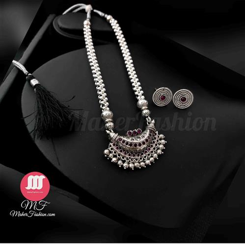Chand Pendant Oxidise Thushi With Earrings - Maher Fashion(Fashiontrends)