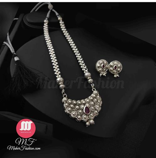 Oxidise Thushi Pendant Withe earrings - Maher Fashion(Fashiontrends)