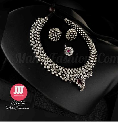 oxidise Thushi with Earrings And Nose pin _Online _MaherFashion_Mumbai - Maher Fashion(Fashiontrends)