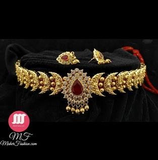 Half Moon Gold Necklace - Maher Fashion(Fashiontrends)