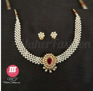 Classy Pearl  Neckiace Dagina With Earrings - Maher Fashion(Fashiontrends)