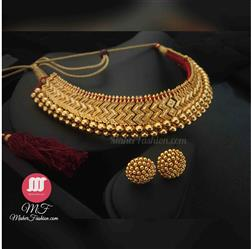 Golden Vajratik With Earrings - Maher Fashion(Fashiontrends)