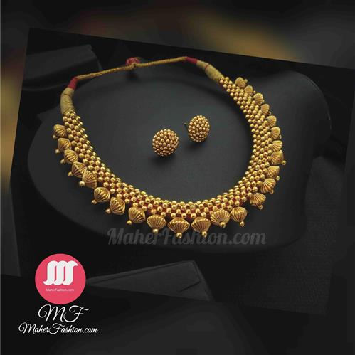 Simple Gold Finish Thushi With Earrings - Maher Fashion(Fashiontrends)