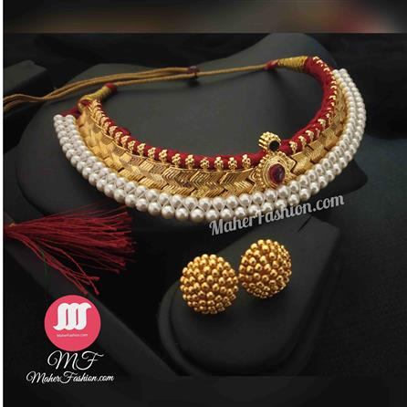 Golden Thushi With Earrings - Maher Fashion(Fashiontrends)