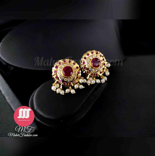 Rubi Stone Pearl Earrings _Online _MaherFashion_Mumbai - Maher Fashion(Fashiontrends)