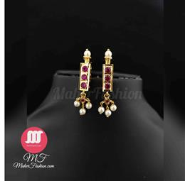 Moti gold earrings for girls Tops _Online _MaherFashion_Mumbai - Maher Fashion(Fashiontrends)