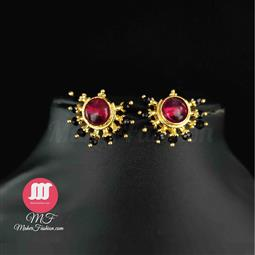 Halfmoon Shape Design Pearl Studs _Online _MaherFashion_Mumbai - Maher Fashion(Fashiontrends)