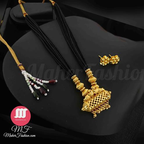 Antique Pendant Short gold mangalsutra designs_Online _MaherFashion_Mumbai - Maher Fashion(Fashiontrends)
