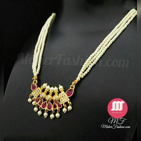 Simple Red Stone pearl tanmani designs MaherFashion_Mumbai - Maher Fashion(Fashiontrends)