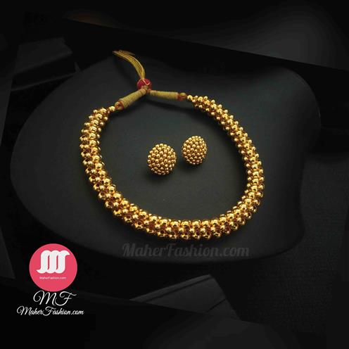 Fancy Beads Thushi With Earrings - Maher Fashion(Fashiontrends)