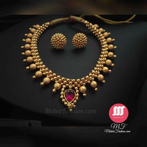 DESIGNER PINK STONE WITH EARRINGS - Maher Fashion(Fashiontrends)