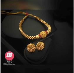 Simple Golden Thushi With Earrings - Maher Fashion(Fashiontrends)