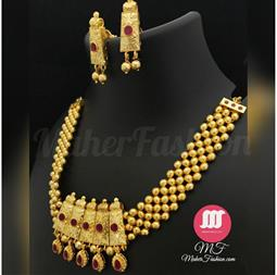 Antique Golden Necklace  With Earrings - Maher Fashion(Fashiontrends)