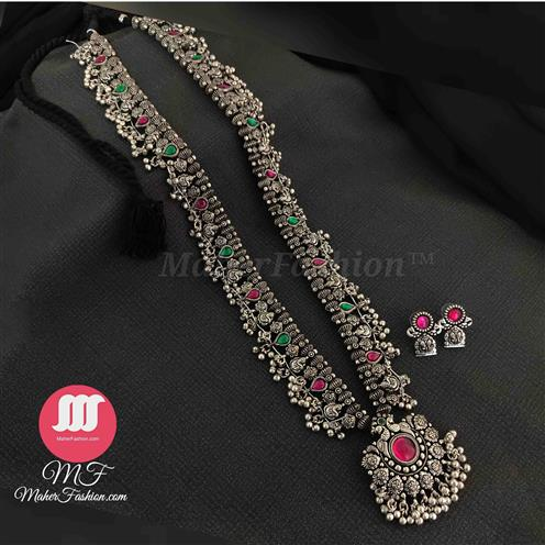 Long Kolhapuri Saaj Oxidized Silver Finish 35 Paani Javmani Online_Maherfashion(Mumbai) - Maher Fashion(Fashiontrends)