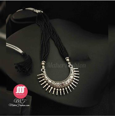Short Designer Half Moon oxidised mangalsutra set _Online _MaherFashion_Mumbai - Maher Fashion(Fashiontrends)
