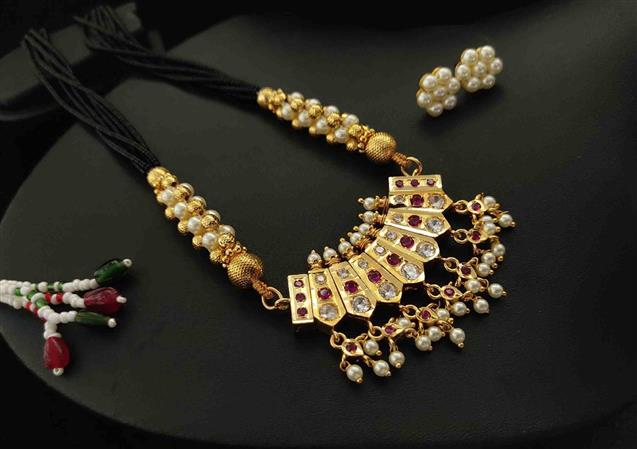 Premium Quality Golden Mangalsutra Design With Earrings - Maher Fashion(Fashiontrends)