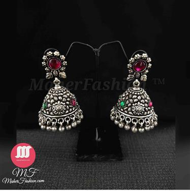 Floral Fern Jhumkis  Trinket Earrings _Online _MaherFashion_Mumbai - Maher Fashion(Fashiontrends)
