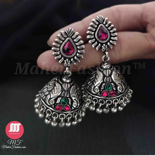 Oxidised jhumka in temple design with Pink and Green stone - Maher Fashion(Fashiontrends)