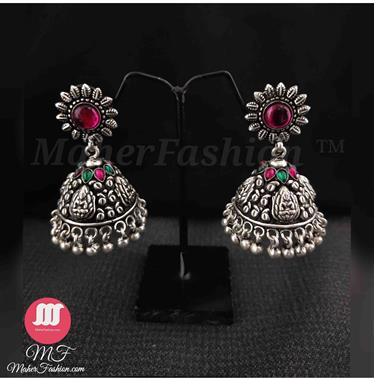 Elegant Laxmi Styled Light Weight Jhumka In Oxidised _maherfashion_mumbai - Maher Fashion(Fashiontrends)