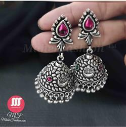 Exquisite  Silver Chand Styled Theme Jhumkas In Alluring Design__maherfashion_mumbai - Maher Fashion(Fashiontrends)