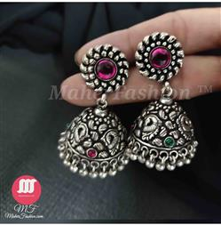 Oxidised silver jhumka in paisley design with Pink and Green stone_maherfashion_mumbai - Maher Fashion(Fashiontrends)