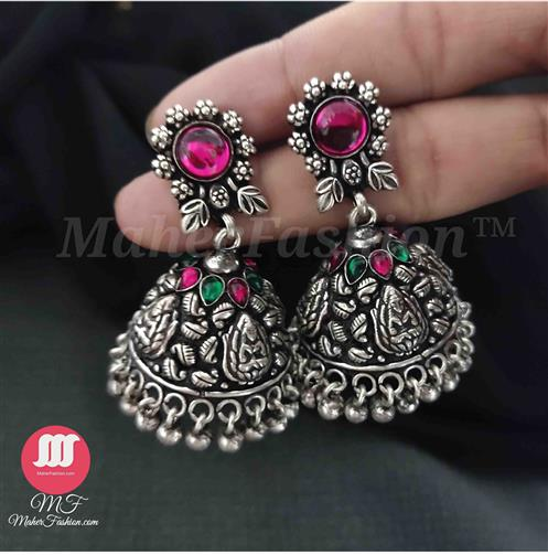 Exquisite Floral Design Silver Jhumkas With Pink and Green Stone - Maher Fashion(Fashiontrends)