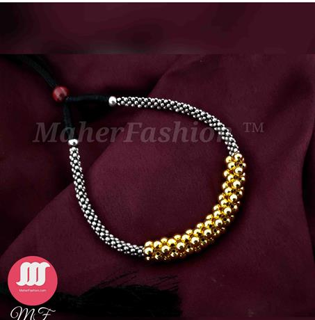Oxidized Silver Thushi With Broad Golden Beads purchase _Online _MaherFashion_Mumbai - Maher Fashion(Fashiontrends)
