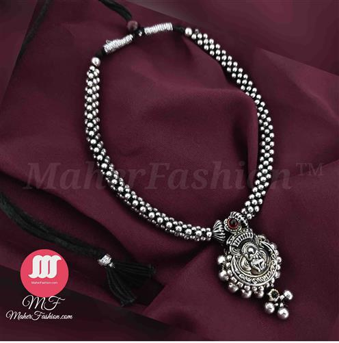 Oxidized Thushi spherical Temple Pendant _Online _MaherFashion_Mumbai - Maher Fashion(Fashiontrends)
