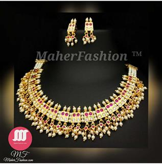17 Peti Chinchpeti Moti Haar in 3 Strings with Pink White Stone _Online _MaherFashion_Mumbai - Maher Fashion(Fashiontrends)