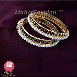 Green Stone Fancy Pearl Bangles Designs Gold _Online _Maherfashion_Mumbai. - Maher Fashion(Fashiontrends)