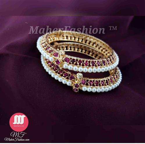 Gold Finish Simple Moti Bangles _Online _MaherFashion_Mumbai - Maher Fashion(Fashiontrends)