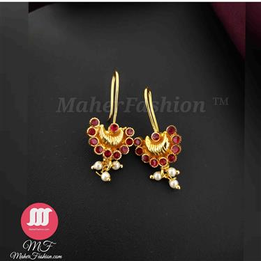 Attractive pink and white stones adorned bugadi with pearl drop - Maher Fashion(Fashiontrends)